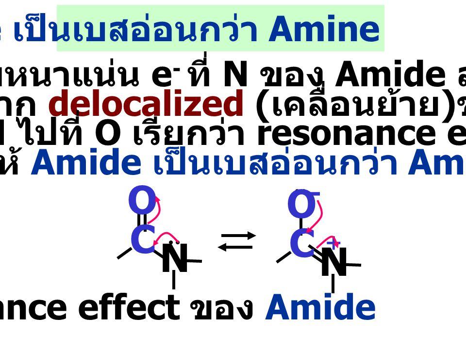 - O O C C N N Amide เป็นเบสอ่อนกว่า Amine