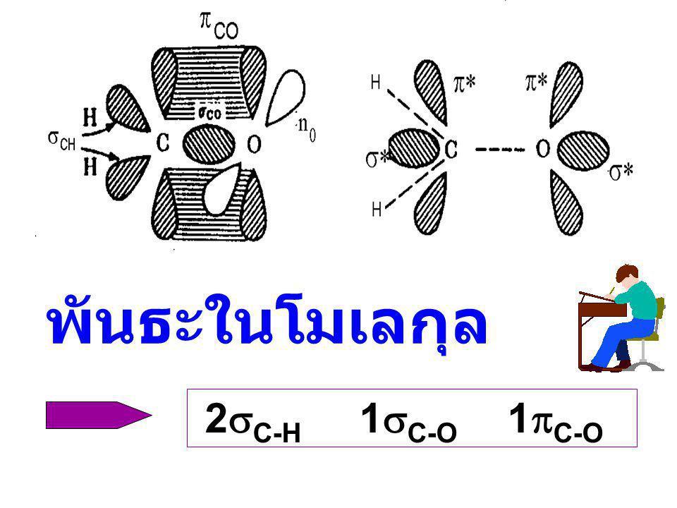 พันธะในโมเลกุล 2sC-H 1sC-O 1pC-O