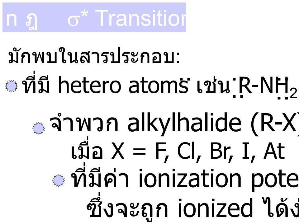 .. จำพวก alkylhalide (R-X) ที่มีค่า ionization potential ต่ำ ๆ