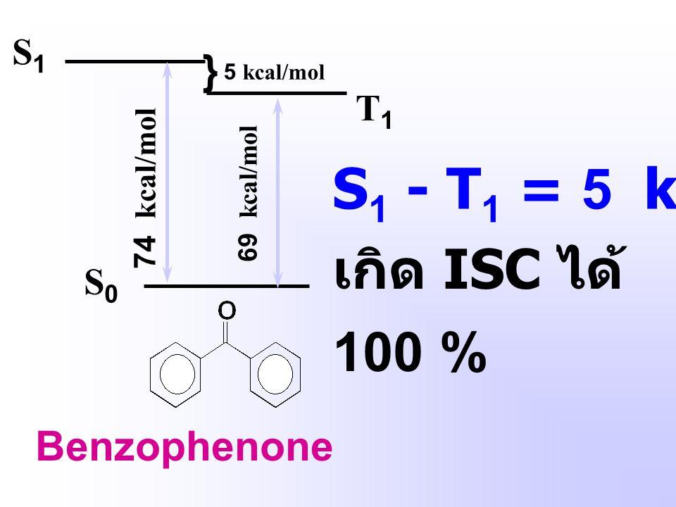 เกิด ISC ได้ 100 % S1 - T1 = 5 kcal mol-1 } Benzophenone S1 T1 S0