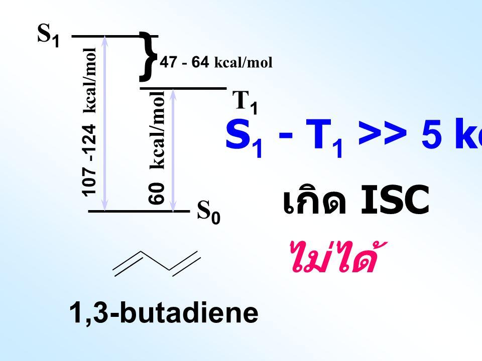 เกิด ISC ไม่ได้ } S1 - T1 >> 5 kcal mol-1 1,3-butadiene S1 T1 S0