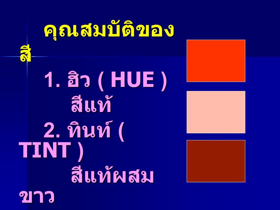 คุณสมบัติของสี 1. ฮิว ( HUE ) สีแท้ 2. ทินท์ ( TINT ) สีแท้ผสมขาว 3. โครมา ( CHROMA ) สีแท้ผสมดำ