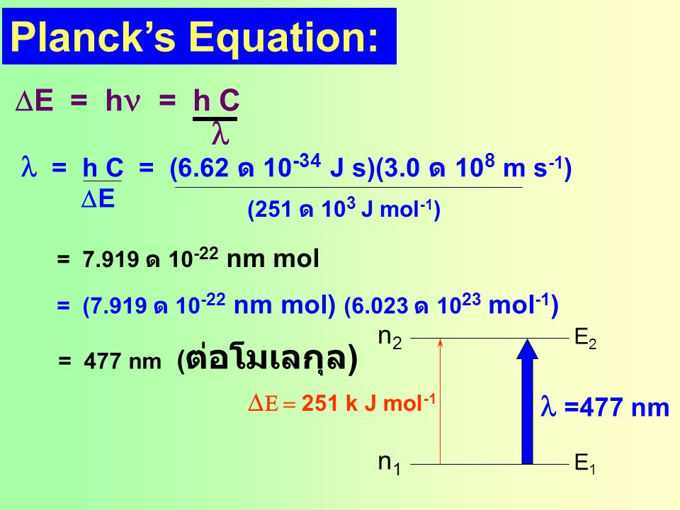 Planck's Equation: l DE = hn = h C