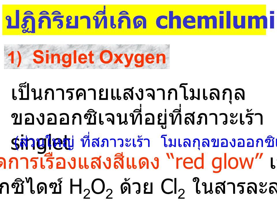 ปฏิกิริยาที่เกิด chemiluminescence ที่พบ