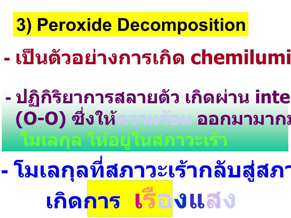 - โมเลกุลที่สภาวะเร้ากลับสู่สภาวะพื้น เกิดการ เรืองแสง