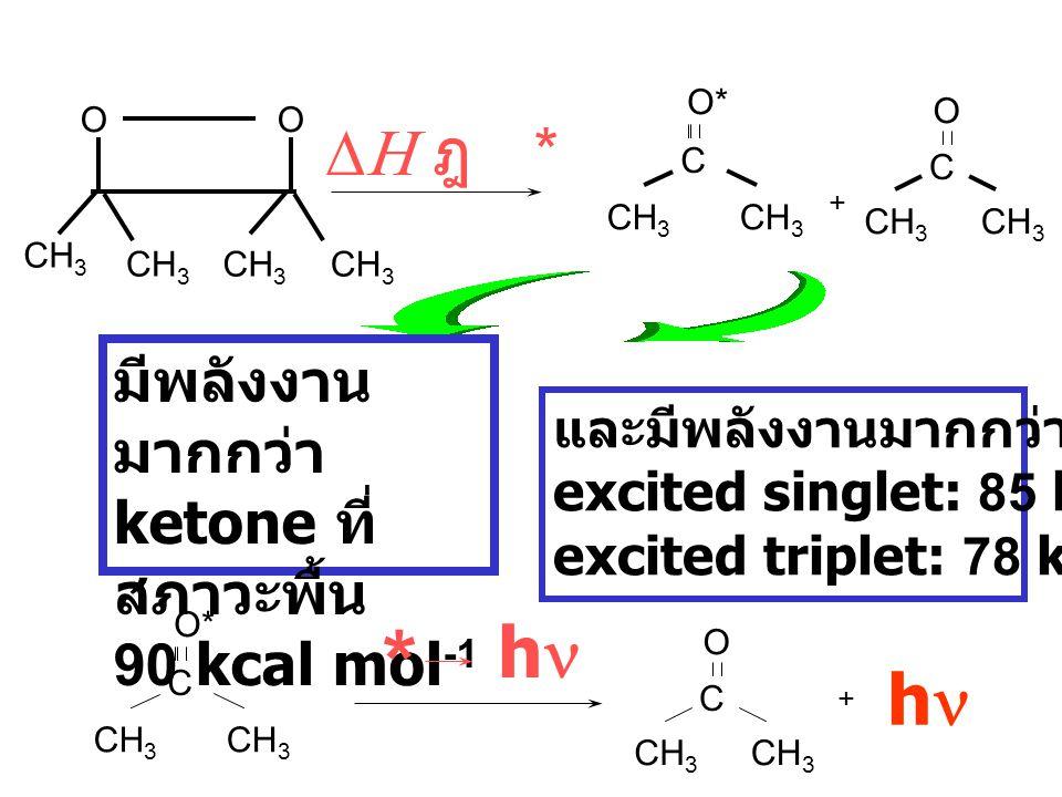 * hn hn DH ฎ * มีพลังงานมากกว่า ketone ที่สภาวะพื้น 90 kcal mol-1