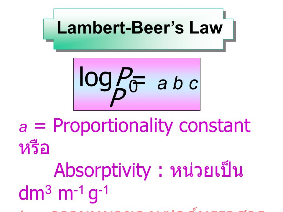 P0 P log = a b c Absorptivity : หน่วยเป็น dm3 m-1 g-1