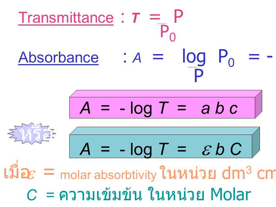หรือ P e = molar absorbtivity ในหน่วย dm3 cm-1 mol-1 เมื่อ P0