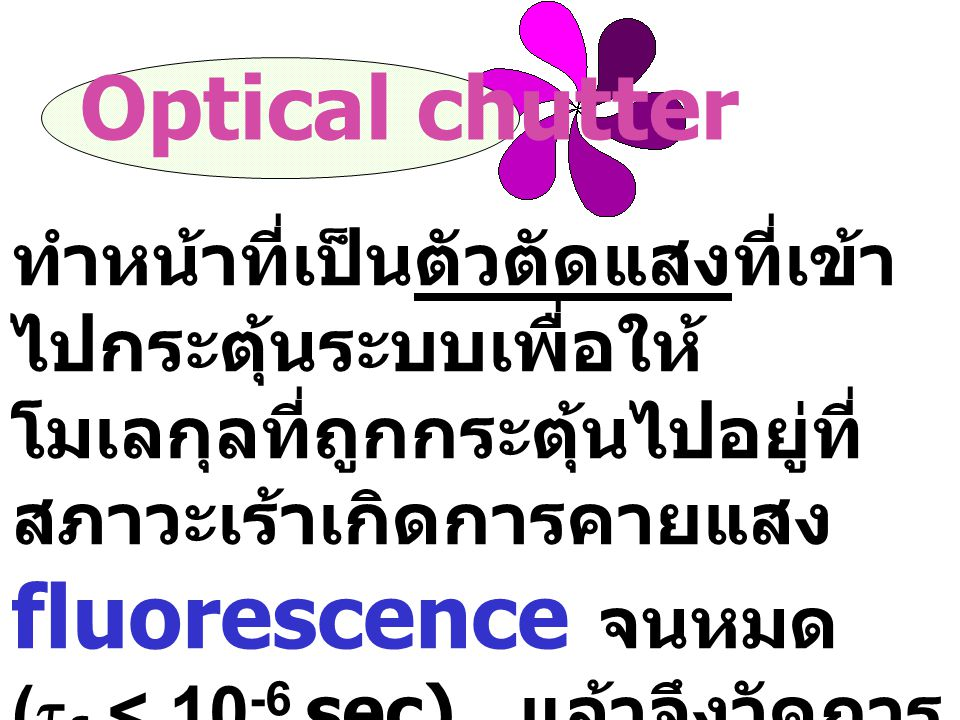 Optical chutter ทำหน้าที่เป็นตัวตัดแสงที่เข้าไปกระตุ้นระบบเพื่อให้โมเลกุลที่ถูกกระตุ้นไปอยู่ที่สภาวะเร้าเกิดการคายแสง fluorescence จนหมด.
