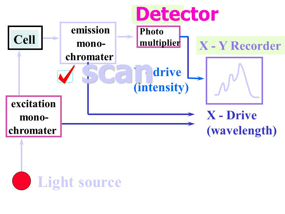 scan Detector Light source Cell X - Y Recorder Y - drive (intensity)