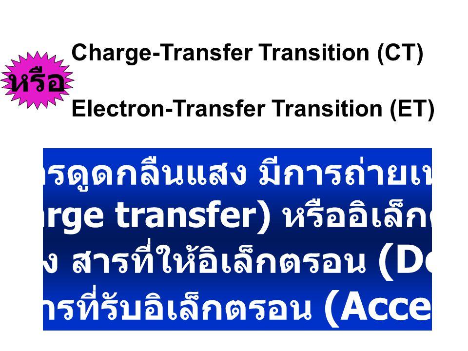 เมื่อสารดูดกลืนแสง มีการถ่ายเทประจุ (charge transfer) หรืออิเล็กตรอน