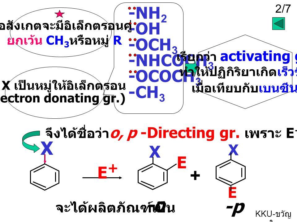X + -p -o -NH2 -OH -OCH3 -NHCOCH3 -OCOCH3 -CH3 X E E+