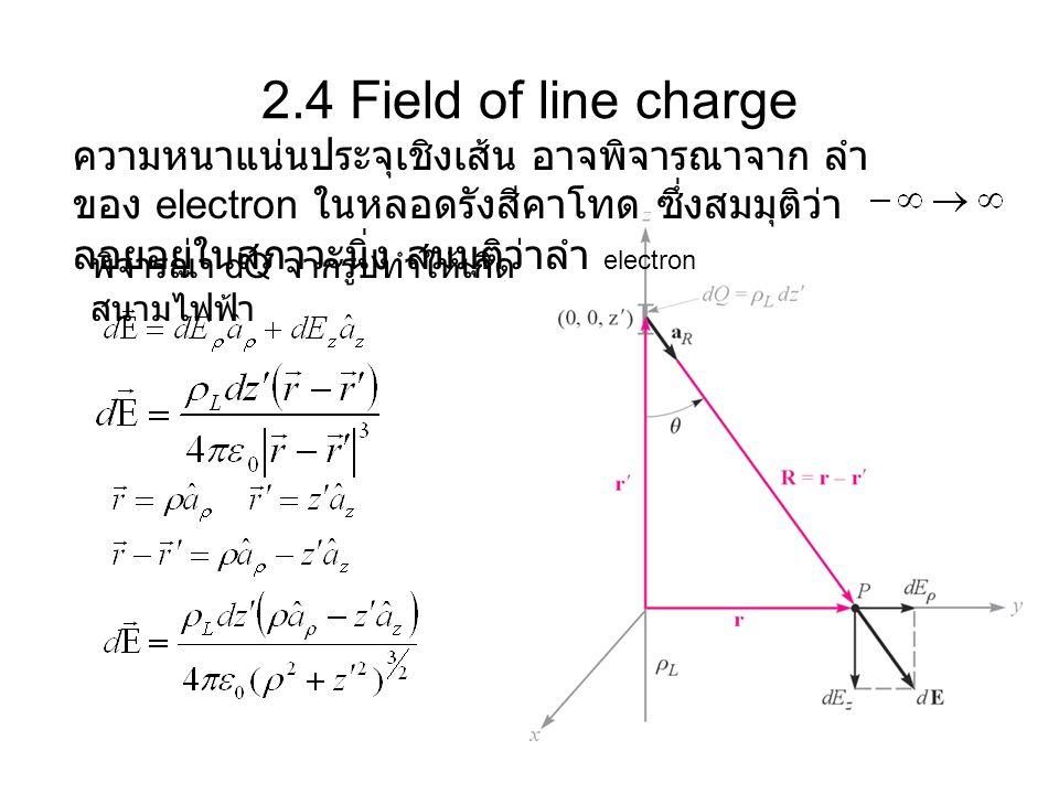 2.4 Field of line charge ความหนาแน่นประจุเชิงเส้น อาจพิจารณาจาก ลำของ electron ในหลอดรังสีคาโทด ซึ่งสมมุติว่าลอยอยู่ในสภาวะนิ่ง สมมุติว่าลำ electron.