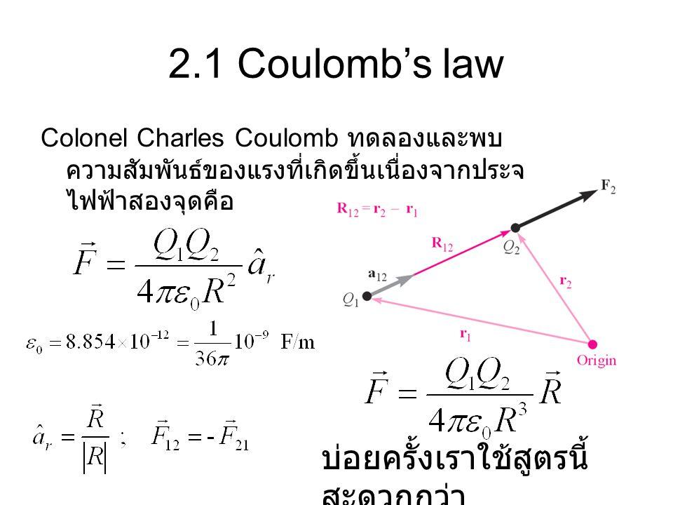 2.1 Coulomb's law บ่อยครั้งเราใช้สูตรนี้สะดวกกว่า
