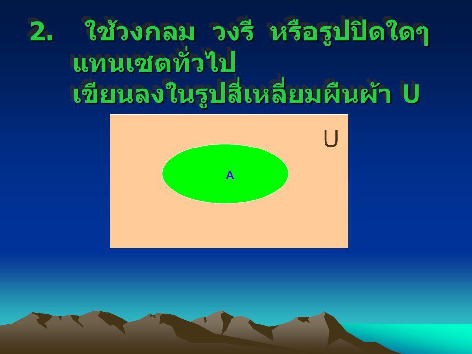 2. ใช้วงกลม วงรี หรือรูปปิดใดๆ แทนเซตทั่วไป เขียนลงในรูปสี่เหลี่ยมผืนผ้า U