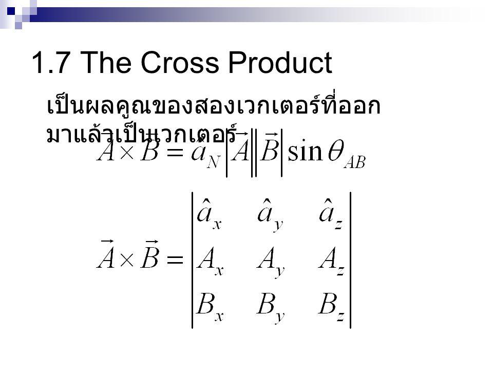 1.7 The Cross Product เป็นผลคูณของสองเวกเตอร์ที่ออกมาแล้วเป็นเวกเตอร์