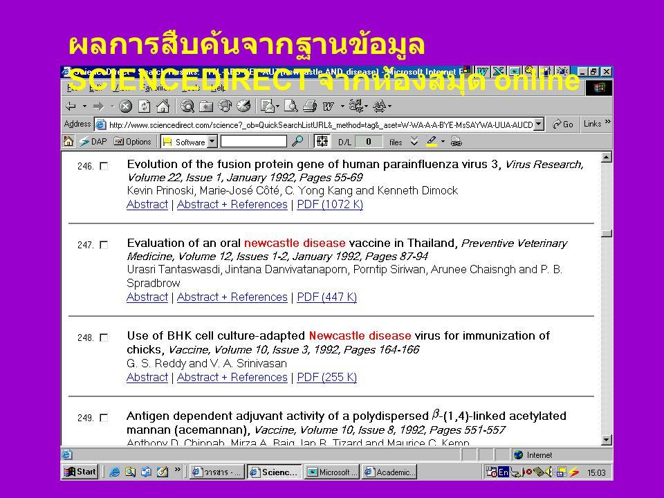 ผลการสืบค้นจากฐานข้อมูล SCIENCEDIRECT จากห้องสมุด online