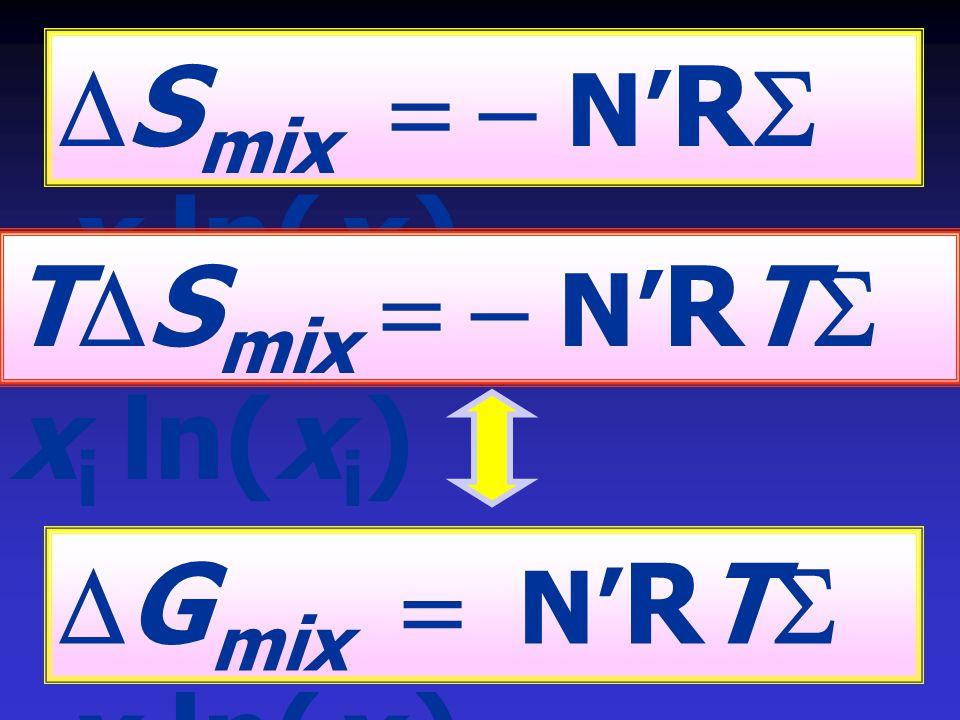 DSmix = - N'RS xi ln(xi) TDSmix = - N'RTS xi ln(xi) DGmix = N'RTS xi ln(xi)