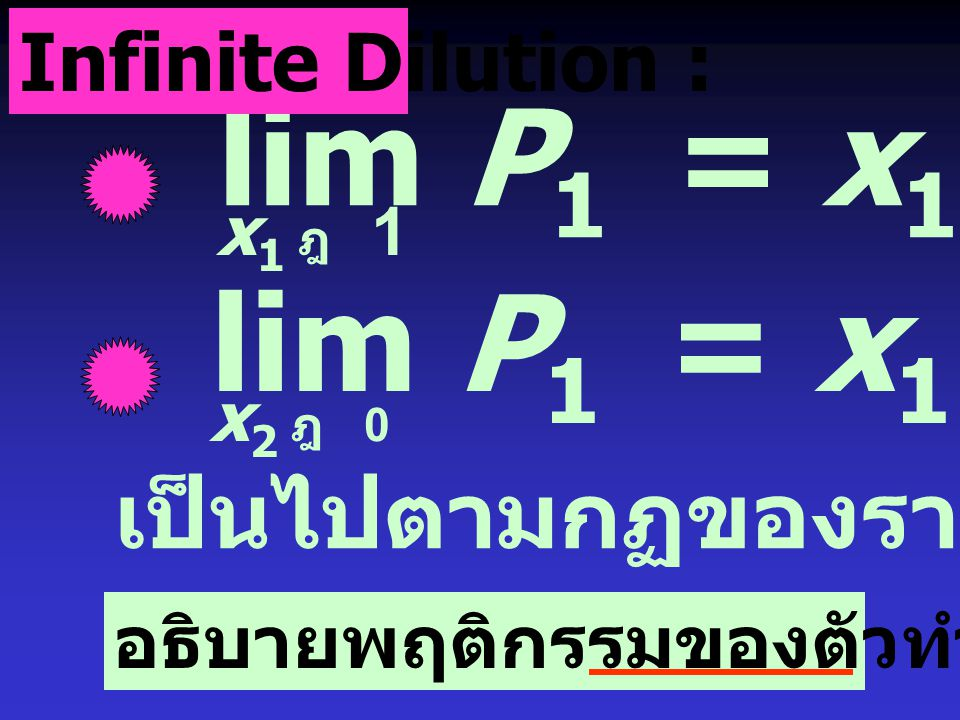 lim P1 = x1P1* lim P1 = x1P1* เป็นไปตามกฏของราอูลล์