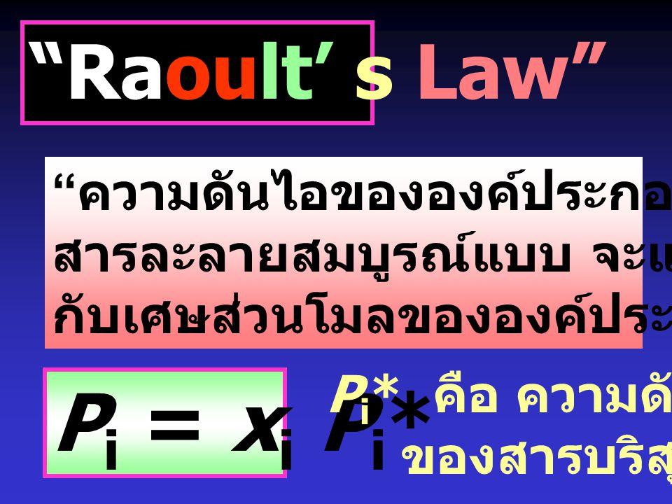 Pi = xi Pi* Raoult' s Law ความดันไอขององค์ประกอบของ