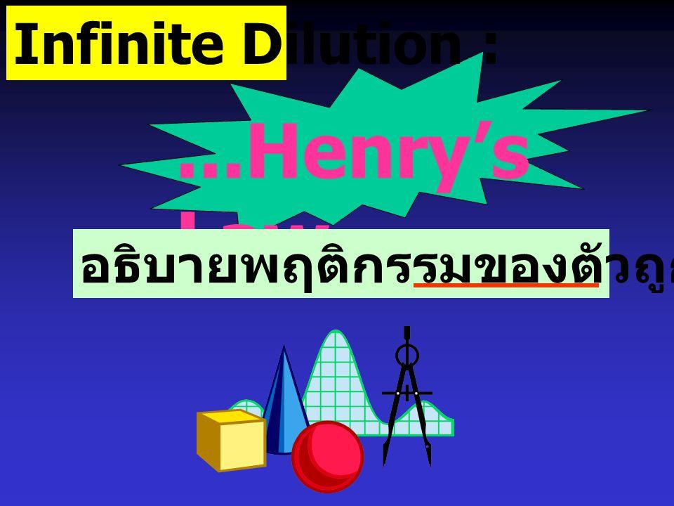 Infinite Dilution : ...Henry's Law... อธิบายพฤติกรรมของตัวถูกละลาย