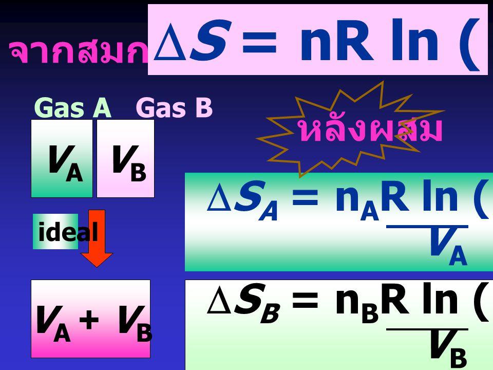 DS = nR ln (V2 / V1) DSA = nAR ln (VA+VB) VA DSB = nBR ln (VA+VB) VB