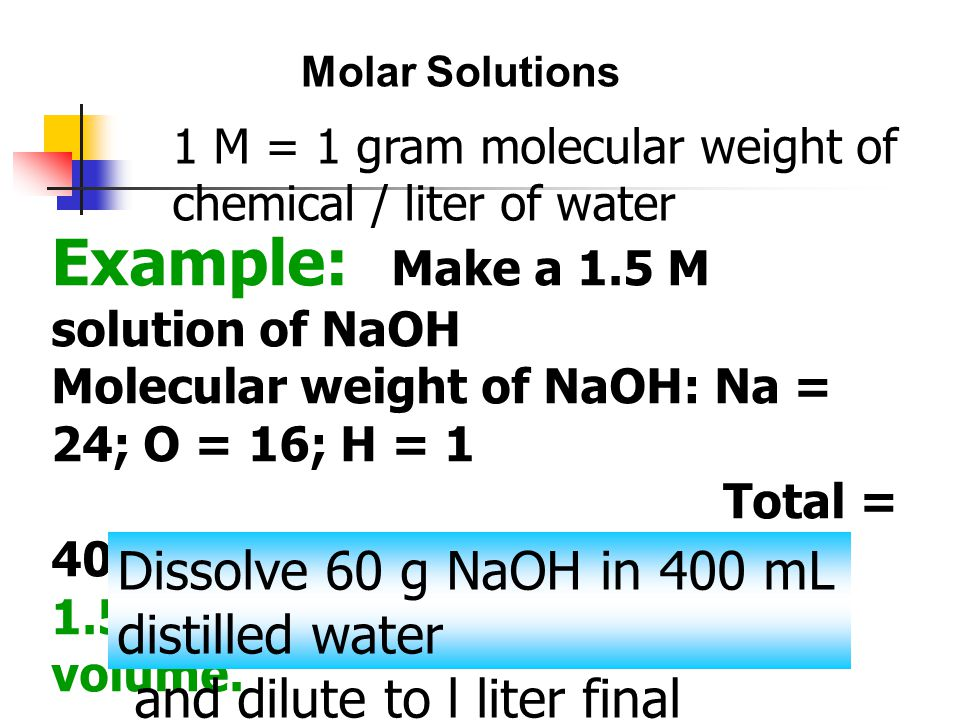 Molar Solutions 1 M = 1 gram molecular weight of chemical / liter of water.