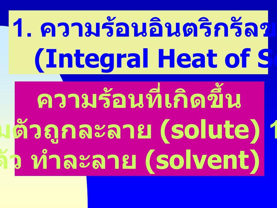 เมื่อเติมตัวถูกละลาย (solute) 1 mol ลงในตัว ทำละลาย (solvent) n mol