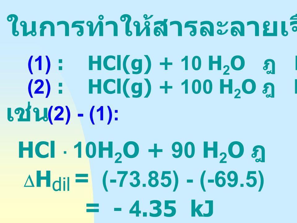 ในการทำให้สารละลายเจือจางลง (DHdil)