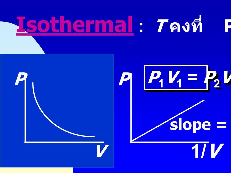 Isothermal : T คงที่ PV = nRT