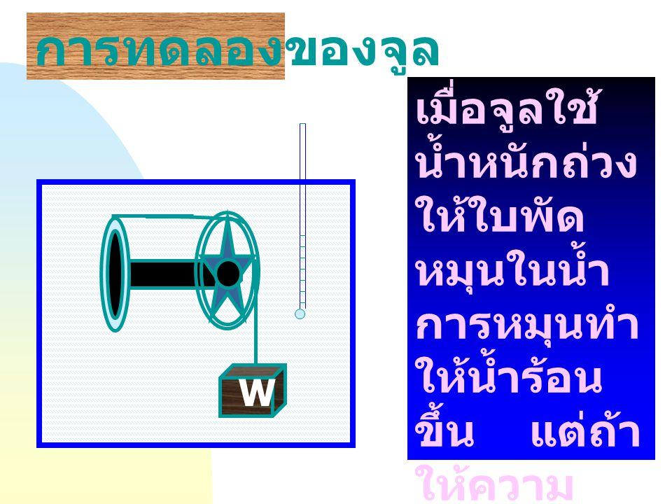 การทดลองของจูล เมื่อจูลใช้น้ำหนักถ่วงให้ใบพัดหมุนในน้ำ การหมุนทำให้น้ำร้อนขึ้น แต่ถ้าให้ความร้อนกับน้ำ ไม่สามารถทำให้ใบพัดหมุนได้