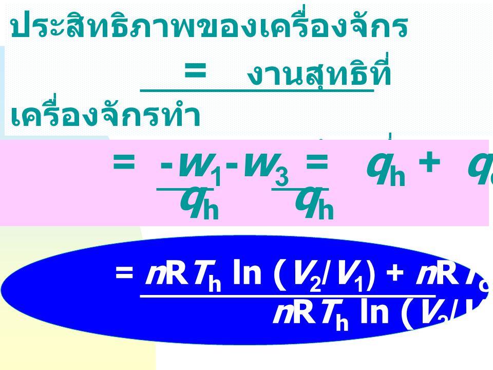 = -w1-w3 = qh + qc qh ประสิทธิภาพของเครื่องจักร