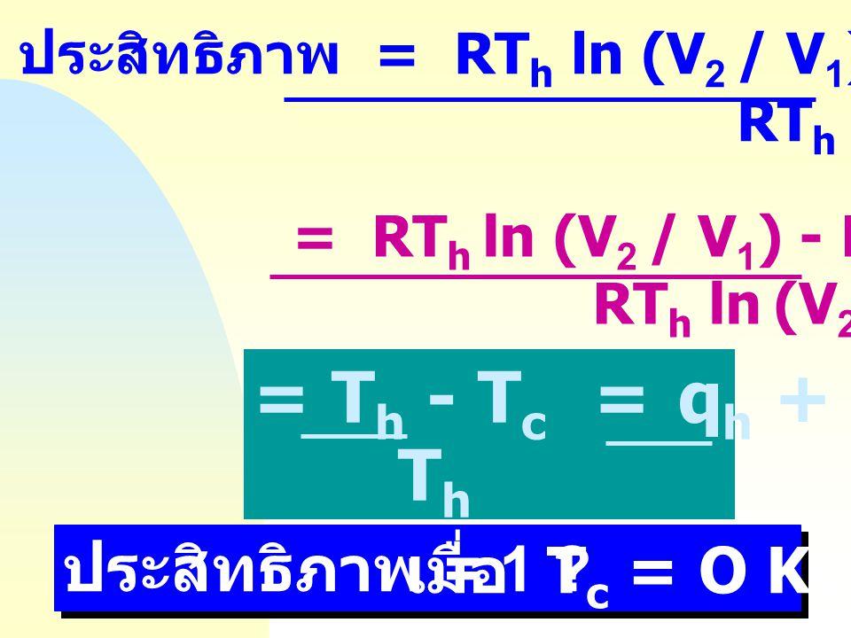 = Th - Tc = qh + qc Th qh ประสิทธิภาพ = 1 เมื่อ Tc = O Kelvin
