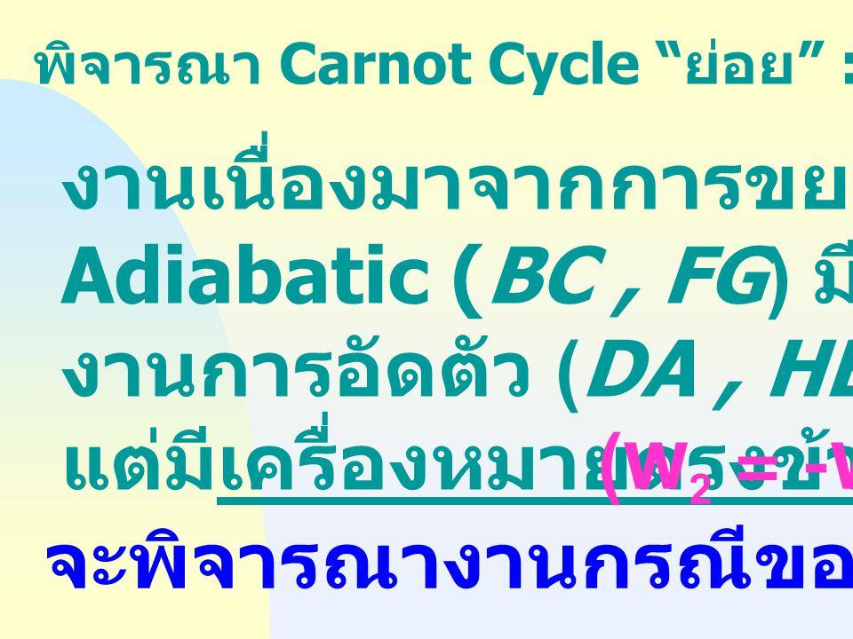 งานเนื่องมาจากการขยายตัวแบบ Adiabatic (BC , FG) มีค่าเท่ากับ