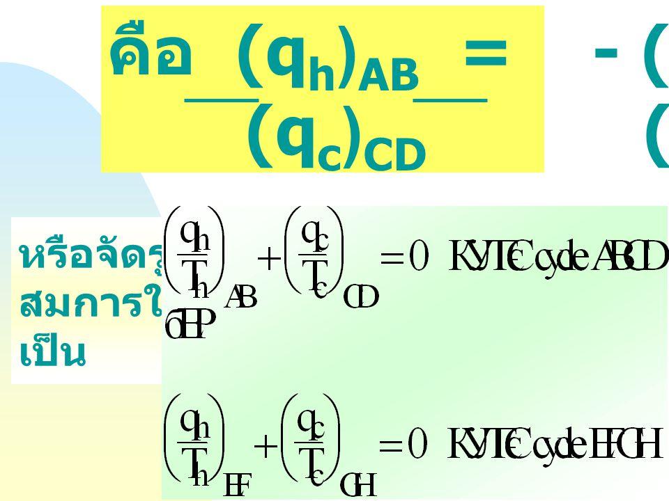 คือ (qh)AB = - (Th)AB (qc)CD (Tc) CD หรือจัดรูป สมการใหม่ เป็น