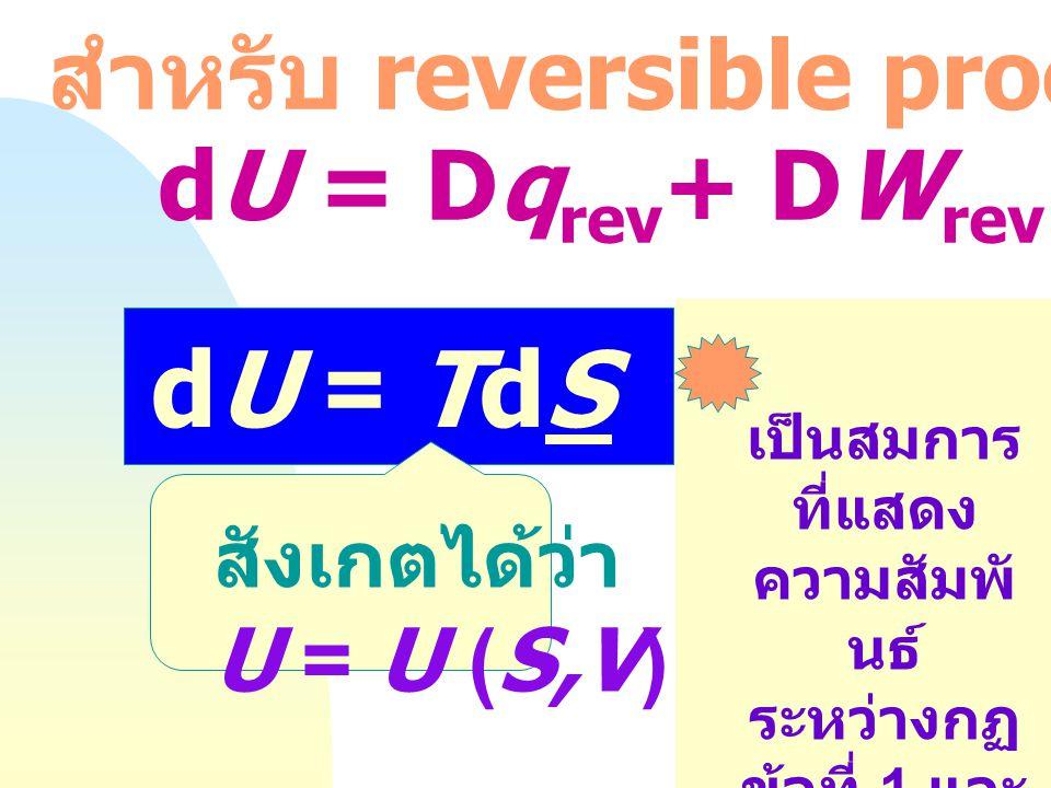 dU = TdS - PdV สำหรับ reversible process : dU = Dqrev+ DWrev