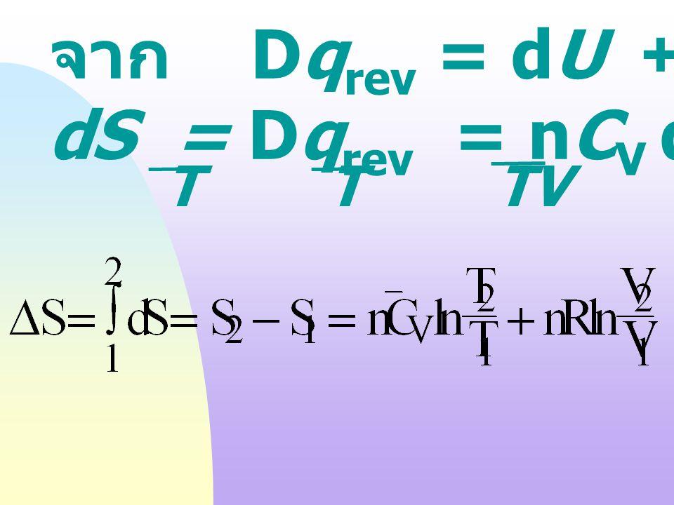 dS = Dqrev = nCV dT + nRT dV