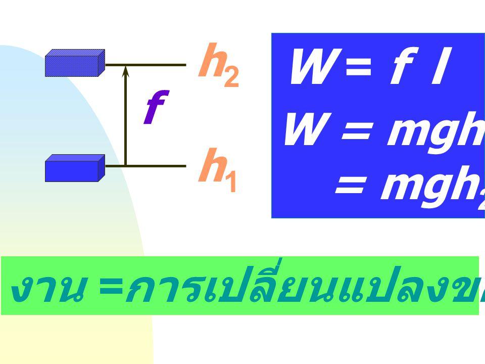 W = f l h2 f W = mgh = mgh2- mgh1 h1