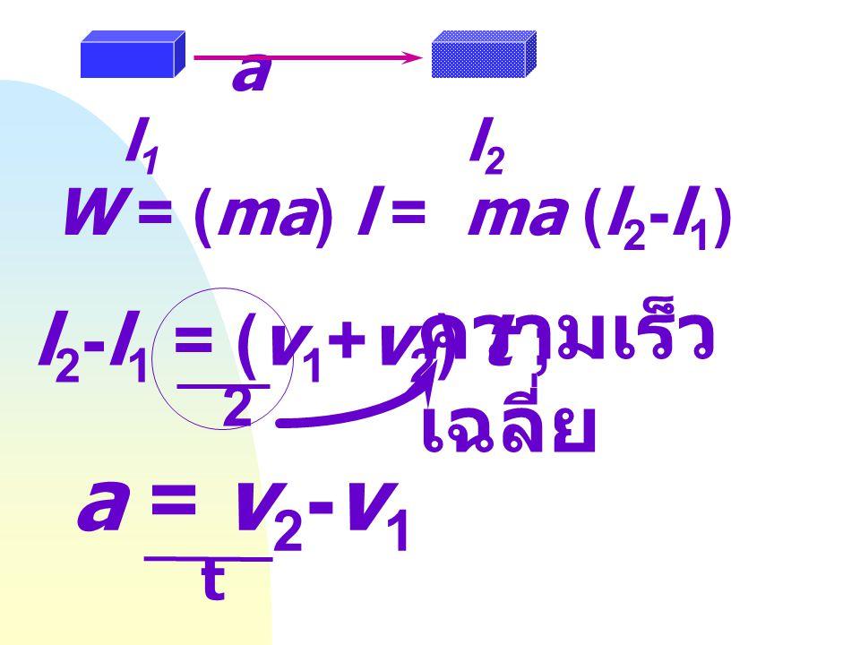 a = v2-v1 ความเร็วเฉลี่ย l2-l1 = (v1+v2) t ; a W = (ma) l = ma (l2-l1)