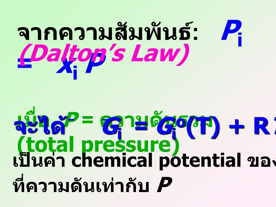 จากความสัมพันธ์: Pi = xi P (Dalton's Law)