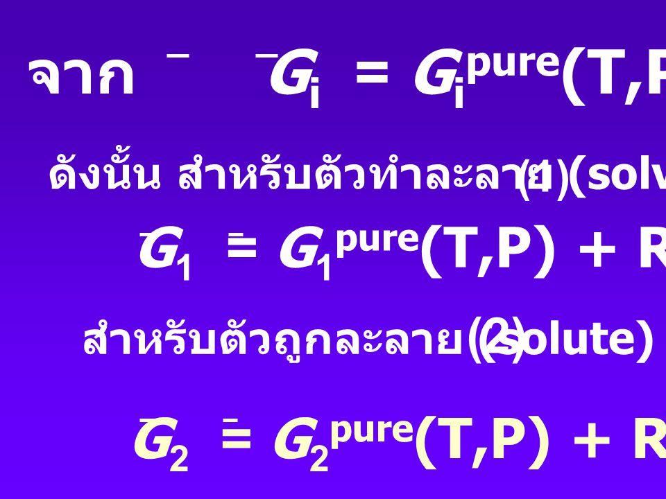 จาก Gi = Gipure(T,P) + RT lnxi