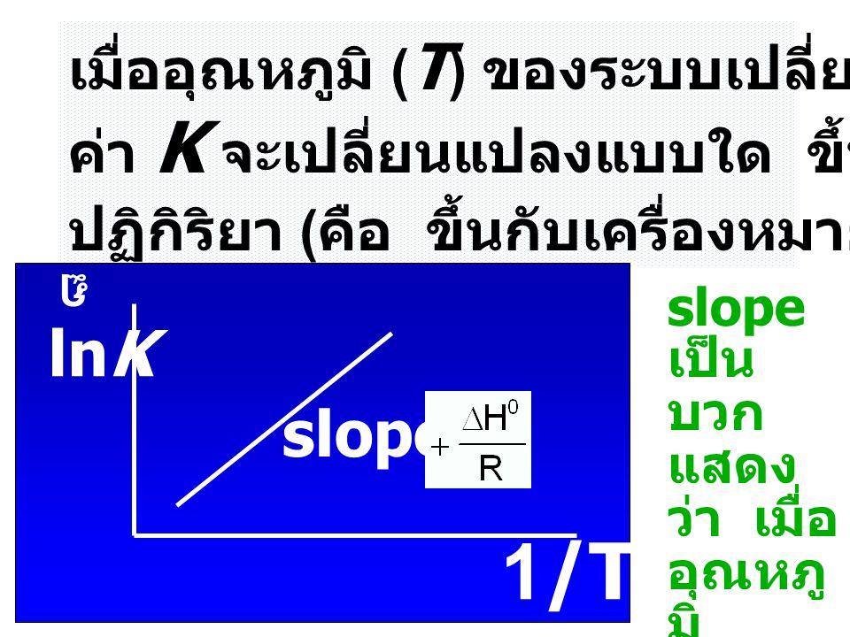 1/T lnK slope = เมื่ออุณหภูมิ (T) ของระบบเปลี่ยนแปลง