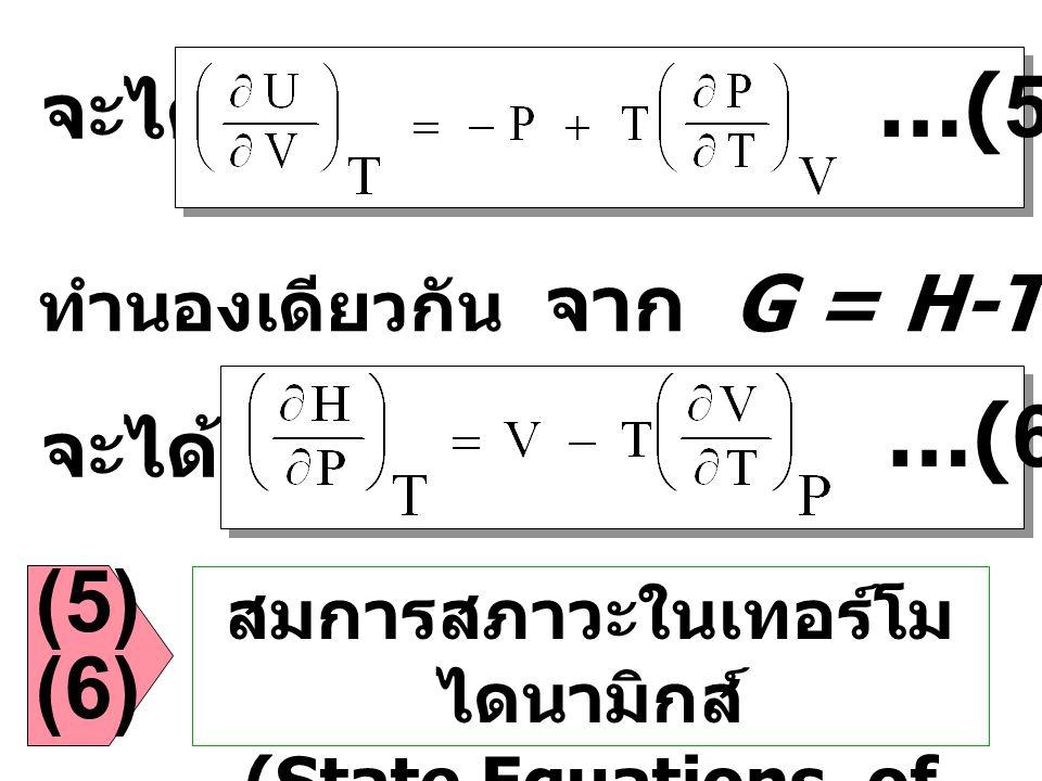 สมการสภาวะในเทอร์โมไดนามิกส์ (State Equations of Thermodynamics)