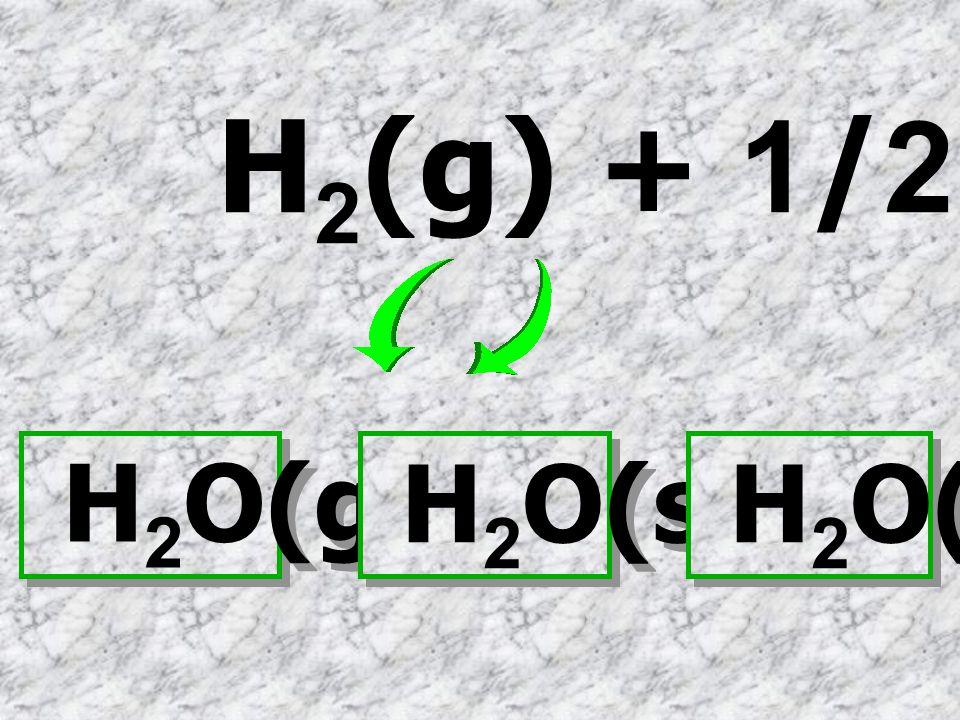 H2(g) + 1/2 O2(g) H2O(g) H2O(s) H2O(l)