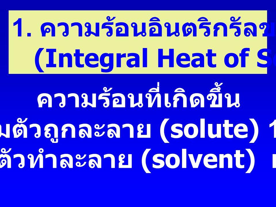 เมื่อเติมตัวถูกละลาย (solute) 1 mol ลงในตัวทำละลาย (solvent) n mol