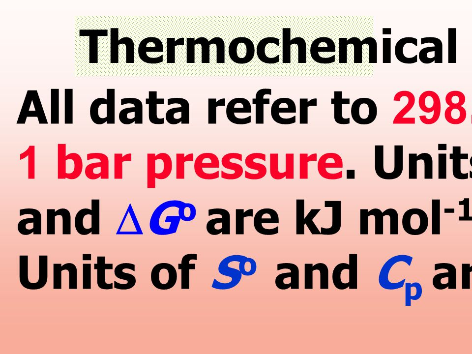 Thermochemical Data All data refer to 298.15 K and. 1 bar pressure. Units of DHo. and DGo are kJ mol-1;