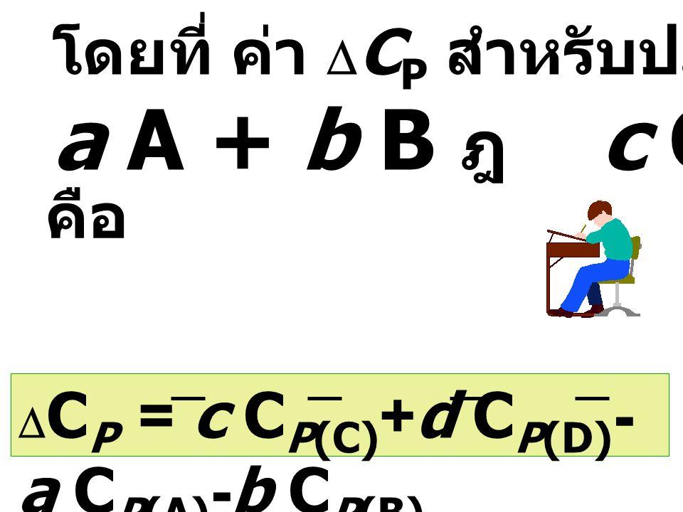 a A + b B ฎ c C + d D โดยที่ ค่า DCP สำหรับปฏิกิริยา คือ