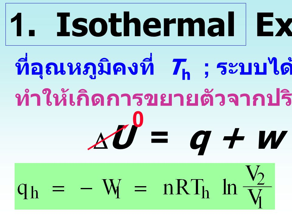 1. Isothermal Expansion DU = q + w