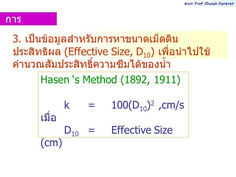 การนำไปใช้งาน 3. เป็นข้อมูลสำหรับการหาขนาดเม็ดดินประสิทธิผล (Effective Size, D10) เพื่อนำไปใช้คำนวณสัมประสิทธิ์ความซึมได้ของน้ำ.