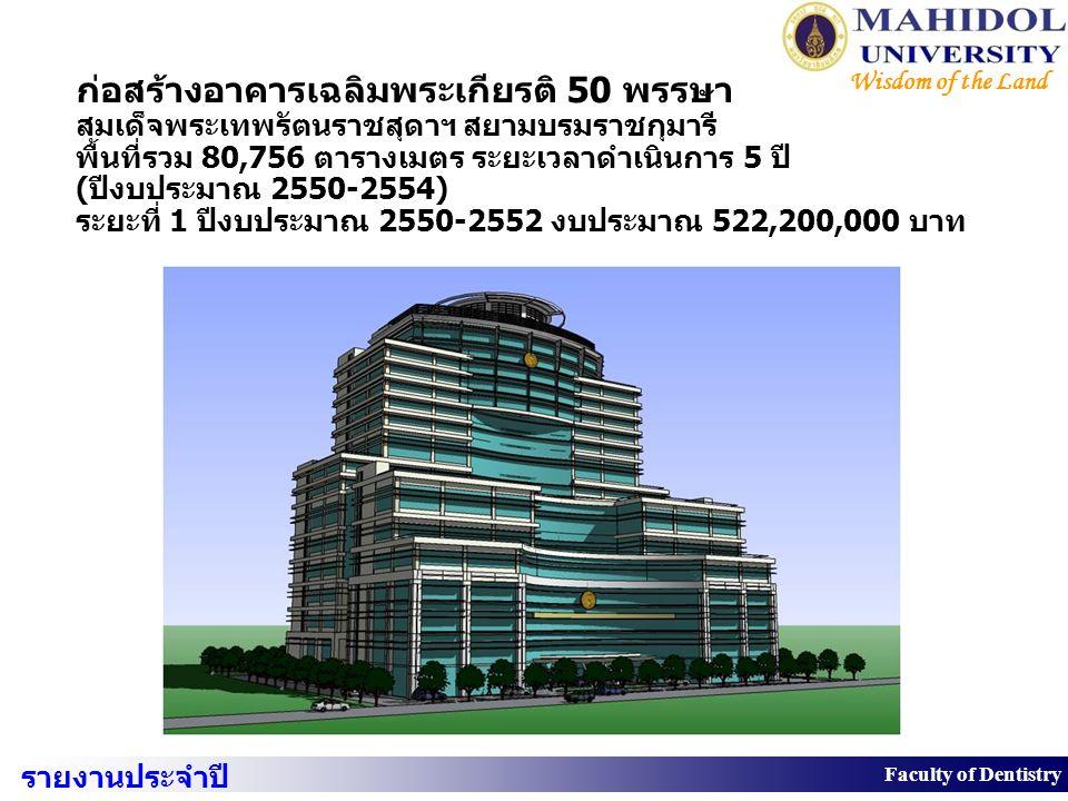 ก่อสร้างอาคารเฉลิมพระเกียรติ 50 พรรษา สมเด็จพระเทพรัตนราชสุดาฯ สยามบรมราชกุมารี พื้นที่รวม 80,756 ตารางเมตร ระยะเวลาดำเนินการ 5 ปี (ปีงบประมาณ 2550-2554) ระยะที่ 1 ปีงบประมาณ 2550-2552 งบประมาณ 522,200,000 บาท
